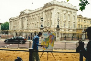 Stephen B. Whatley painting Buckingham Palace for The Royal Collection. June 1999