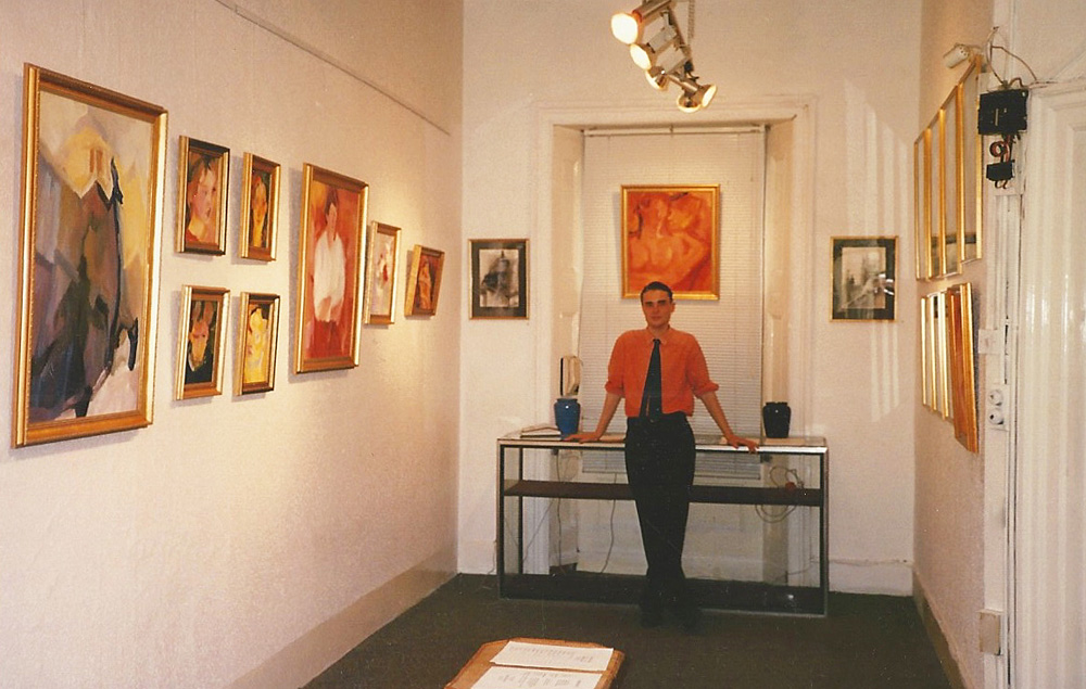 Stephen B. Whatley at his 1989 exhibition at the Marble Arch Gallery London 1989exhibition