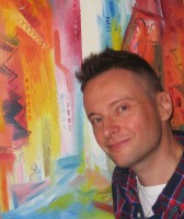 Stephen B. Whatley in 2013 with one of his works inspired by New York City