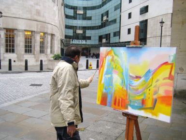 Stephen B. Whatley painting BBC New Broadcasting House, London in 2013