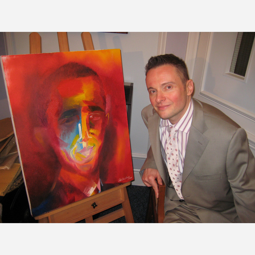 Artist Stephen B. Whatley with his portrait of Barack Obama (published in TIME) 2008