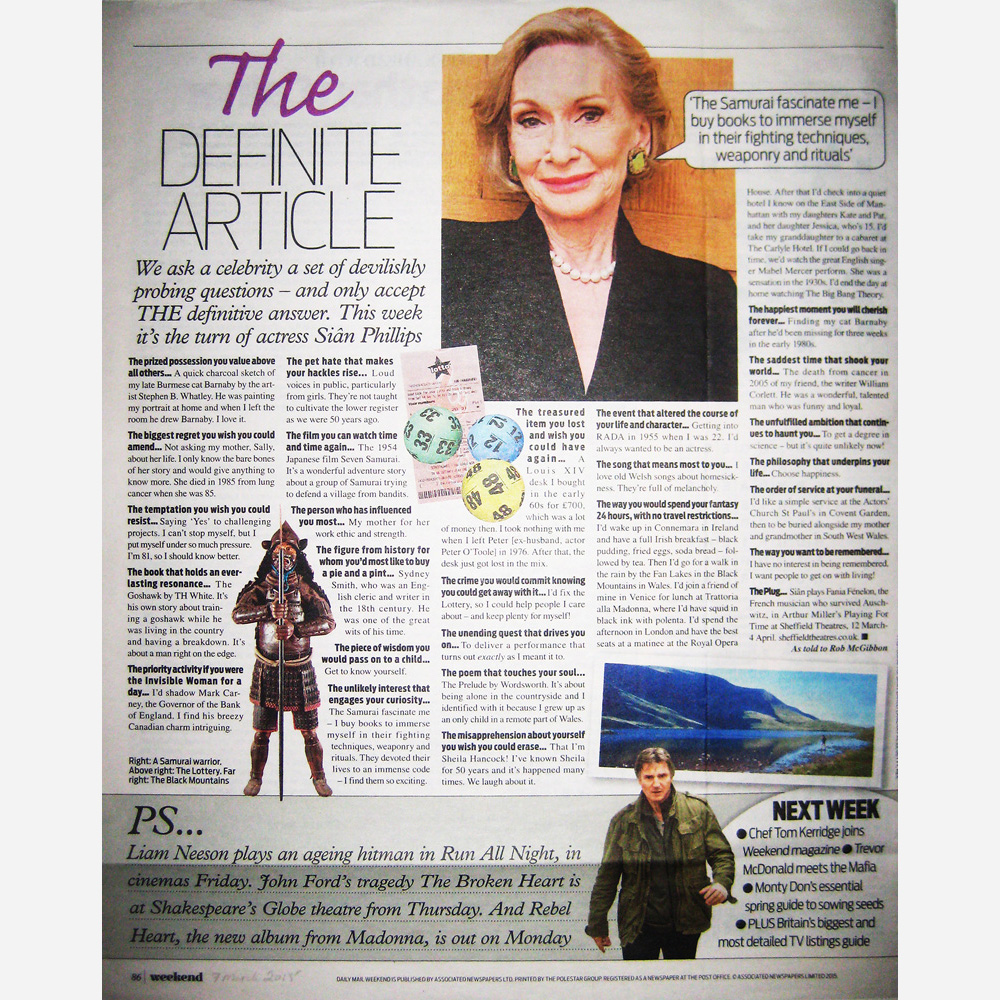 Sian Phillips & Stephen B. Whatley work - Daily Mail Weekend magazine 2015