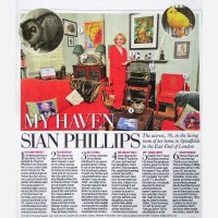 Sian Phillips at home with her portrait by Stephen B. Whatley - Daily Mail 2012