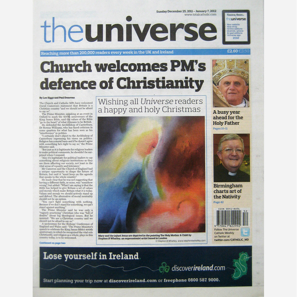 Stephen B. Whatley - front page of Catholic Universe. December 2011
