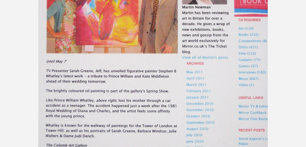 Stephen B. Whatley - Daily Mirror online feature - April 2011