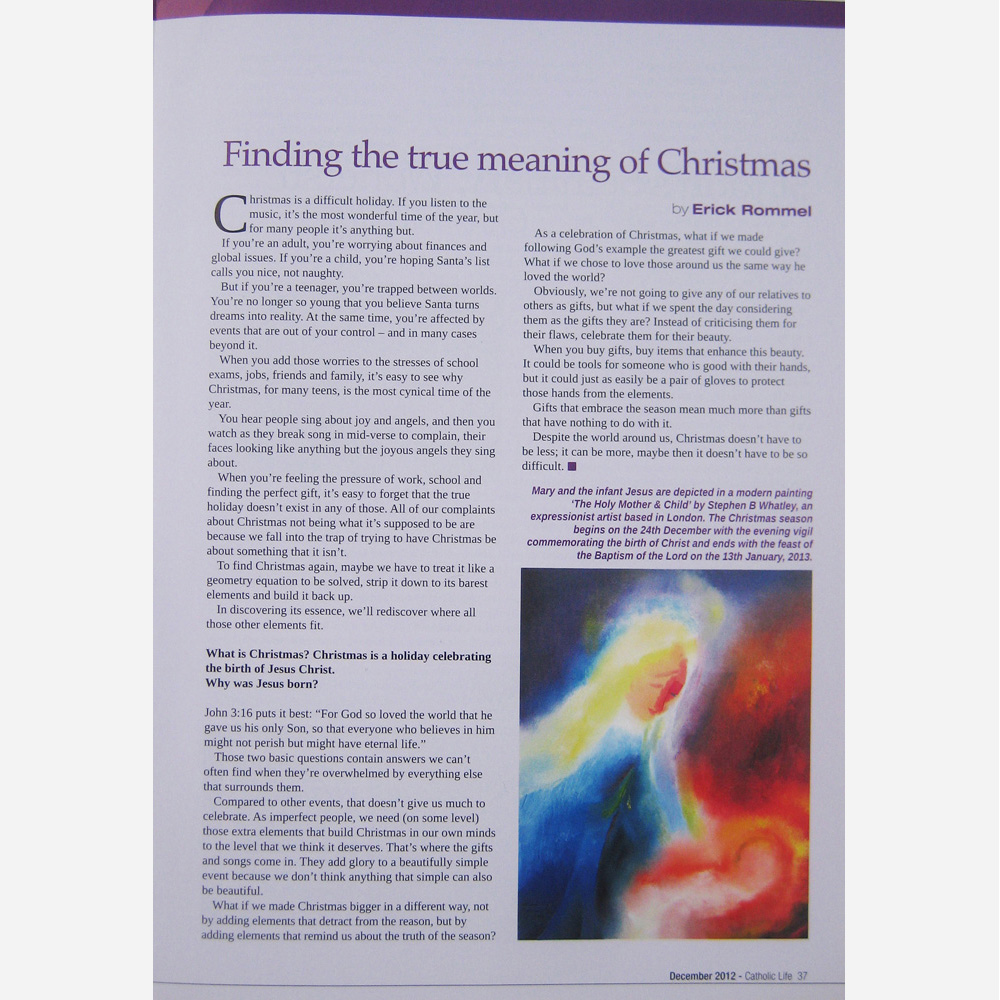 Stephen B. Whatley work - Catholic Life magazine. December 2012