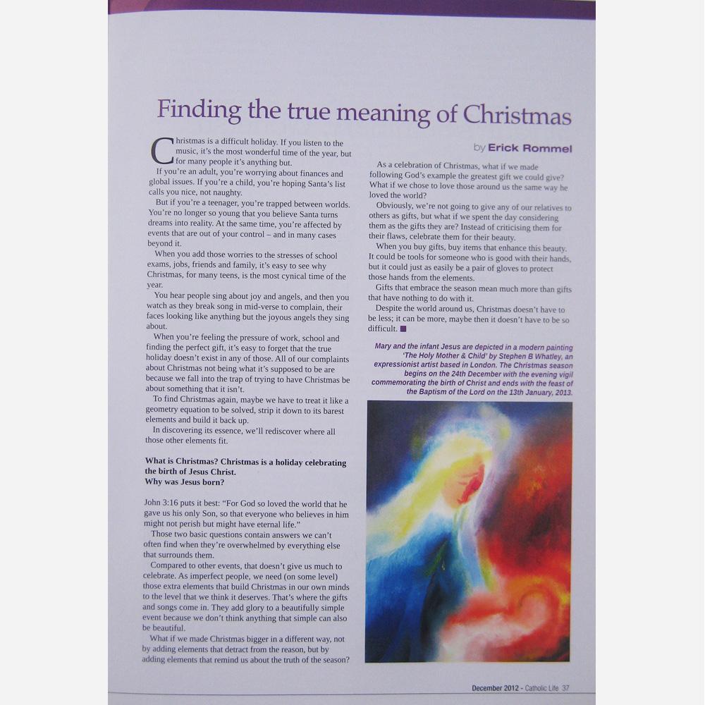 Stephen B. Whatley work - Catholic Life magazine. December 2012