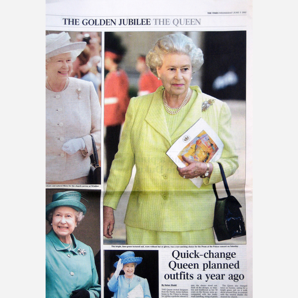 The Queen carries the BBC Programme featuring Stephen B. Whatley painting of Buckingham Palace - The Times 2002