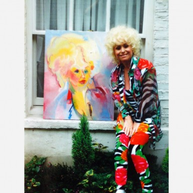 Barbara Windsor at home in 1992 with her Stephen B. Whatley portrait