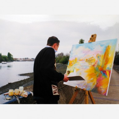 Stephen B. Whatley painting The River Thames from Barnes, London -1998