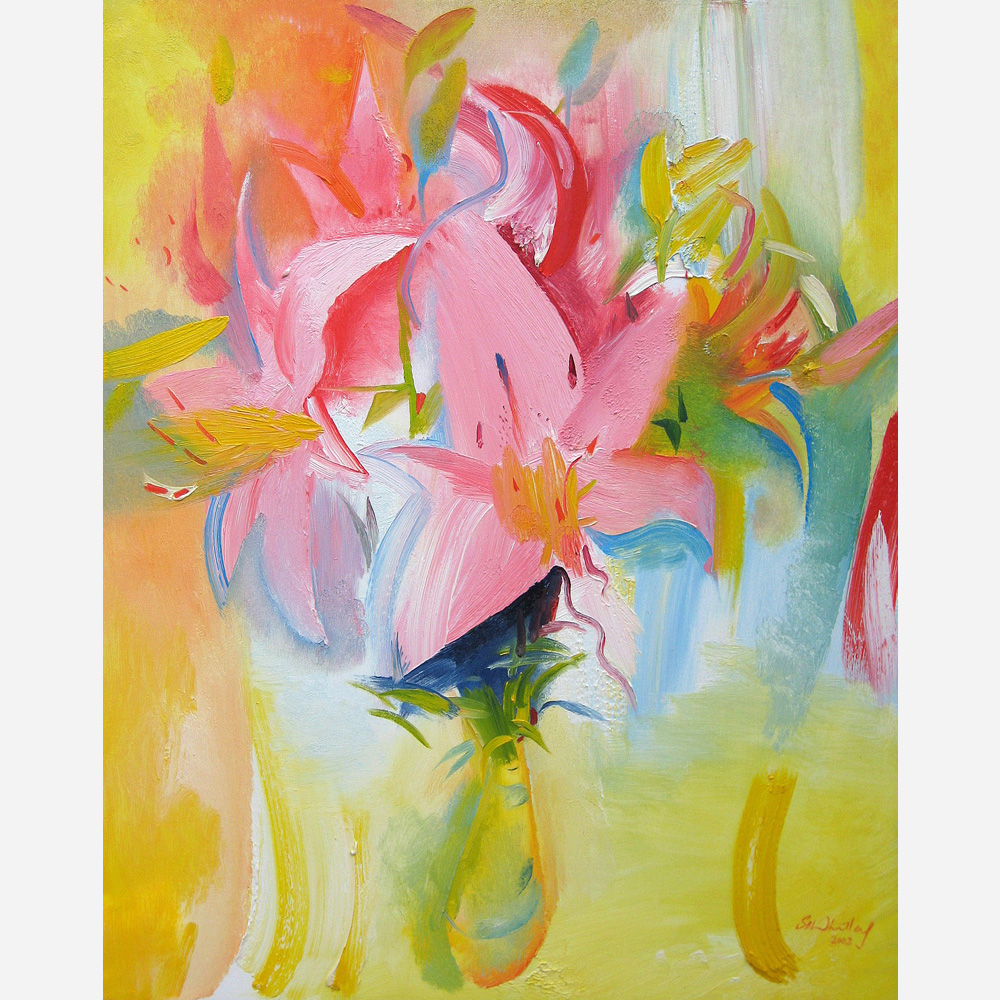 Pink Lilies in Florence's Vase. 2002 by Stephen B. Whatley