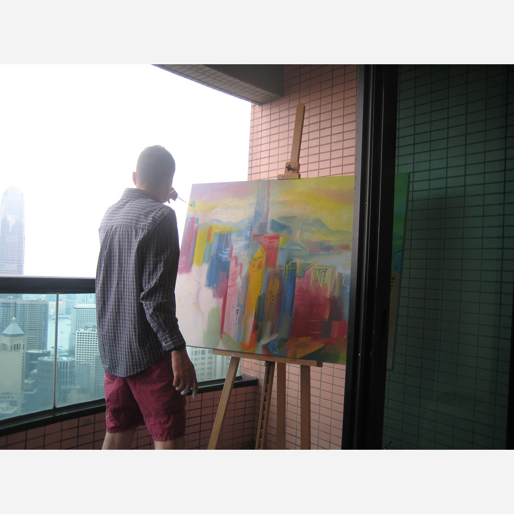 Stephen B. Whatley painting Victoria Harbour, Hong Kong - 2014