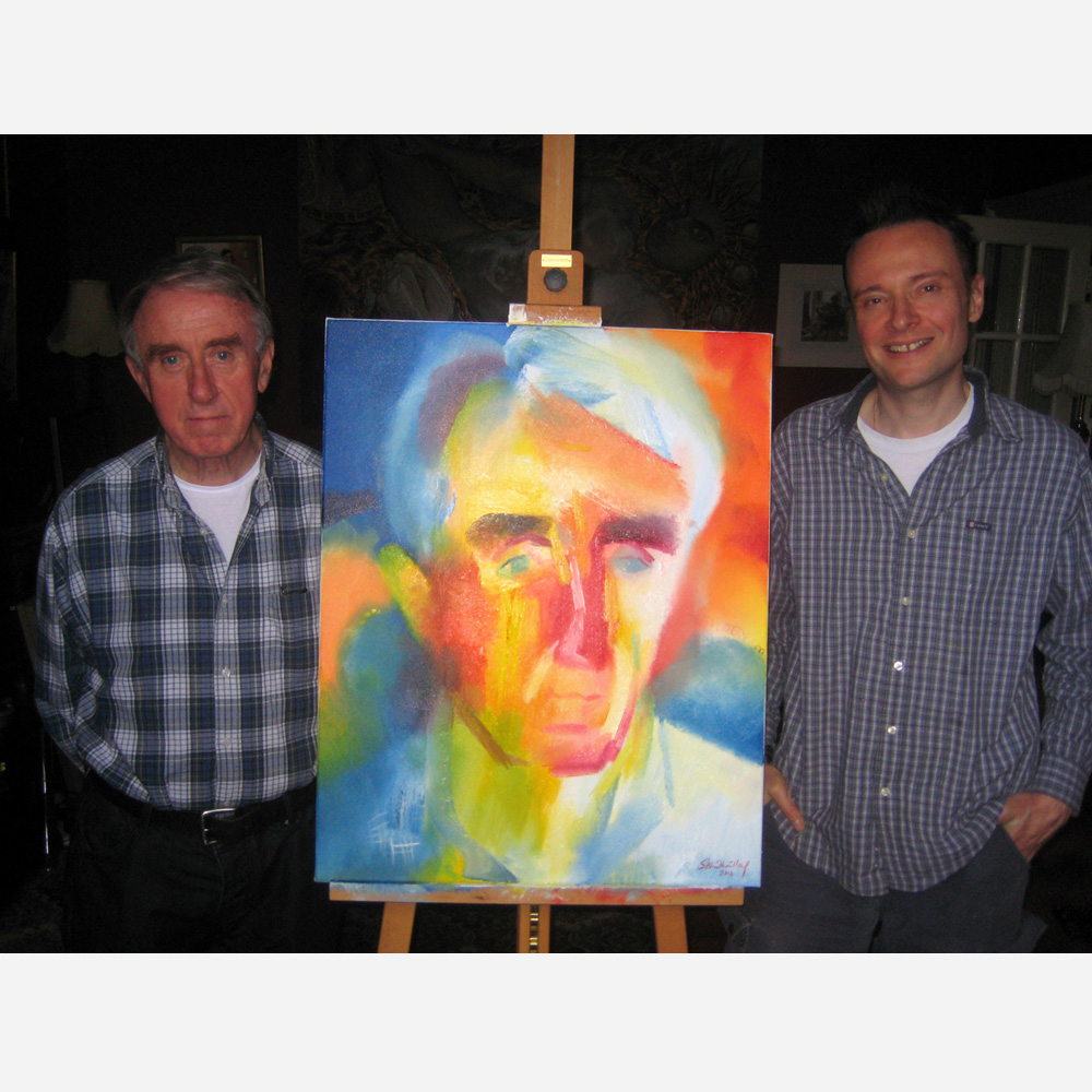 John Stewart Hardman & his portrait with artist Stephen B. Whatley. London 31 October 2014