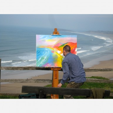 Stephen B. Whatley undertaking a commission of Rhossili Bay, S. Wales - 2011