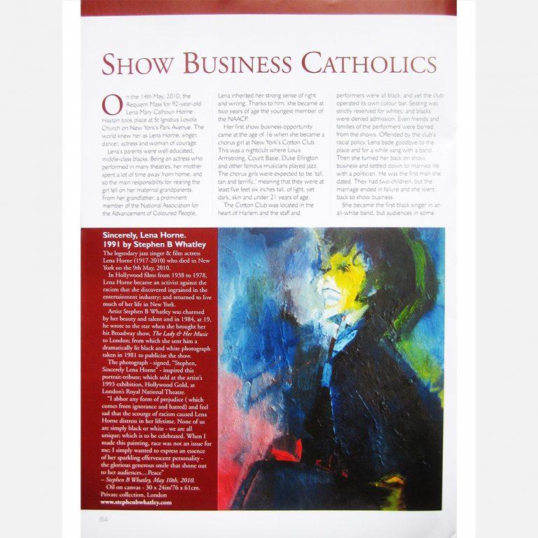 Lena Horne by Stephen B Whatley - Catholic Life magazine - January 2011 (Pt 1)