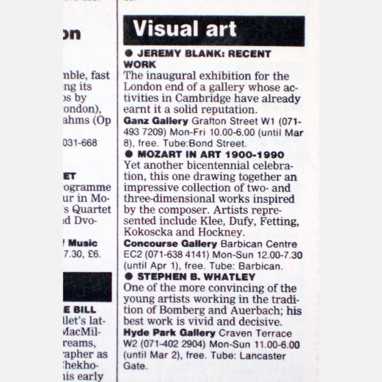 Stephen B Whatley Review by Tim Hilton - The Guardian - 18 February 1991
