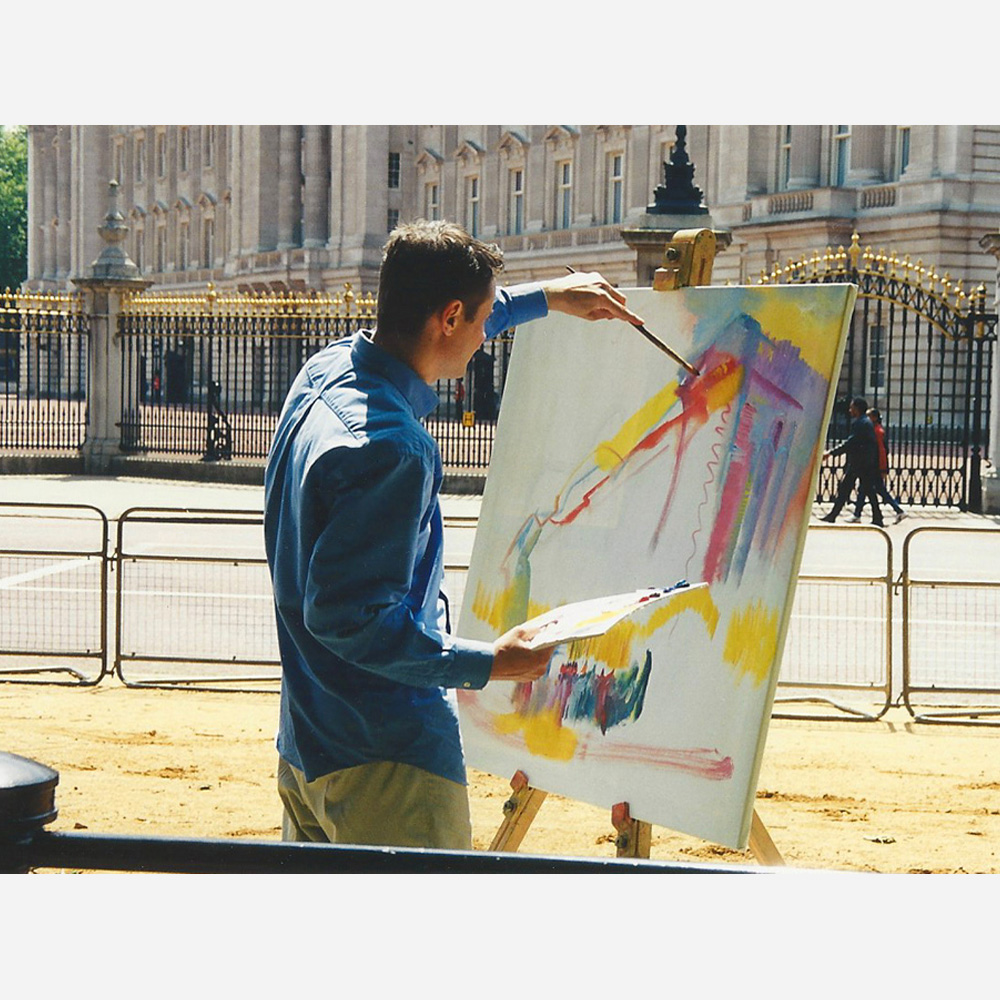 Stephen B. Whatley painting Buckingham Palace for The Royal Collection - 1999
