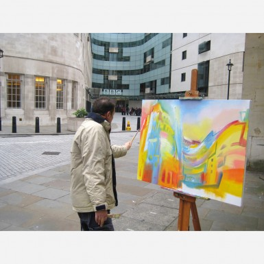 Stephen B. Whatley painting New BBC Broadcasting House, London - 2013