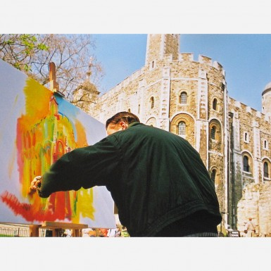 Stephen B. Whatley painting the White Tower, Tower of London - 2000