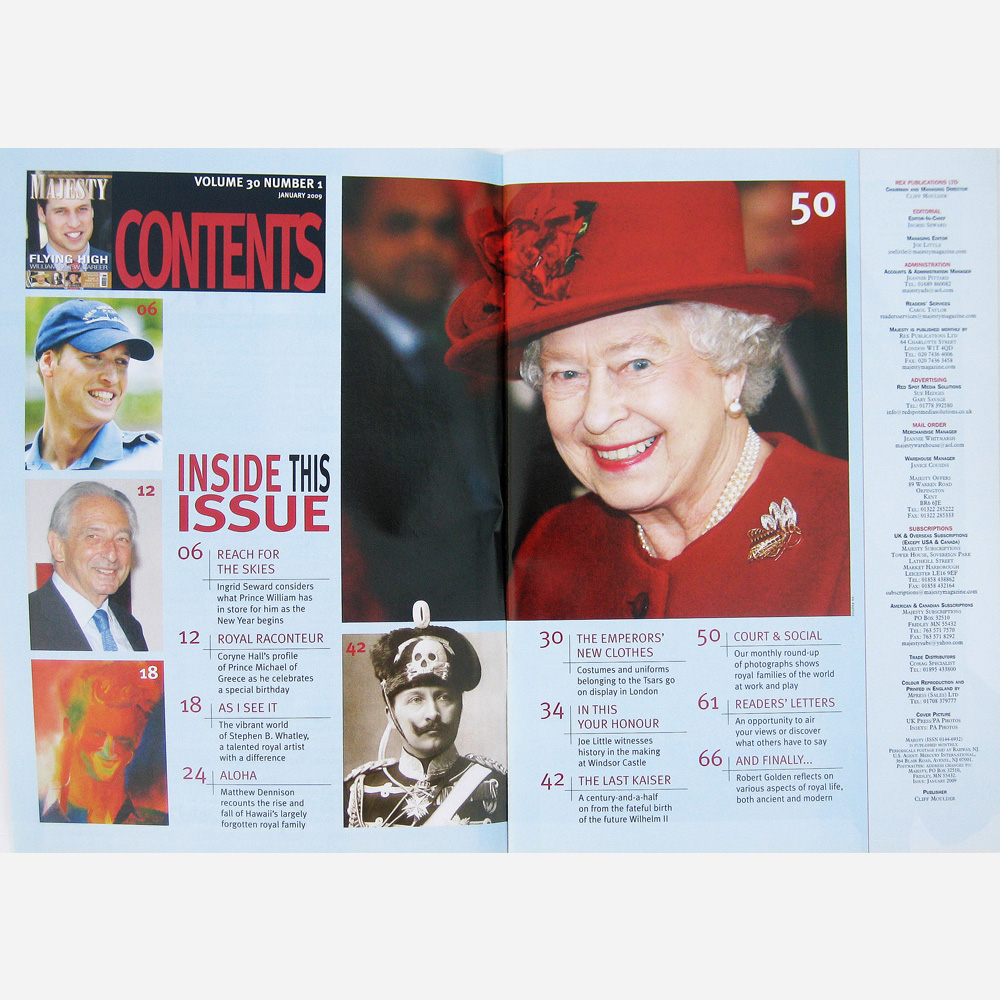 Stephen B. Whatley feature on Royal commissions - MAJESTY 2009