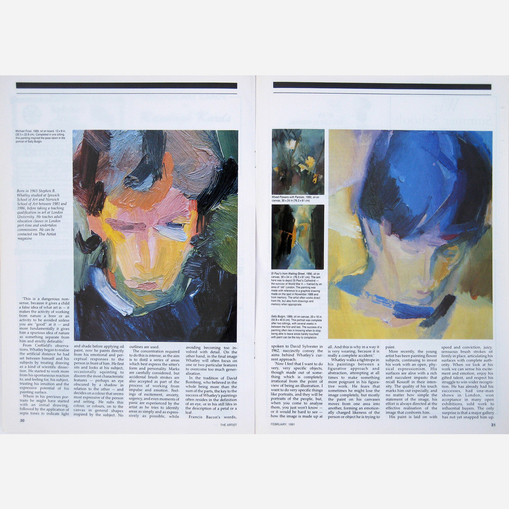 Stephen B. Whatley feature in The Artist magazine 1991 (pt 2)