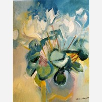 White Cyclamens 1991 by Stephen B. Whatley