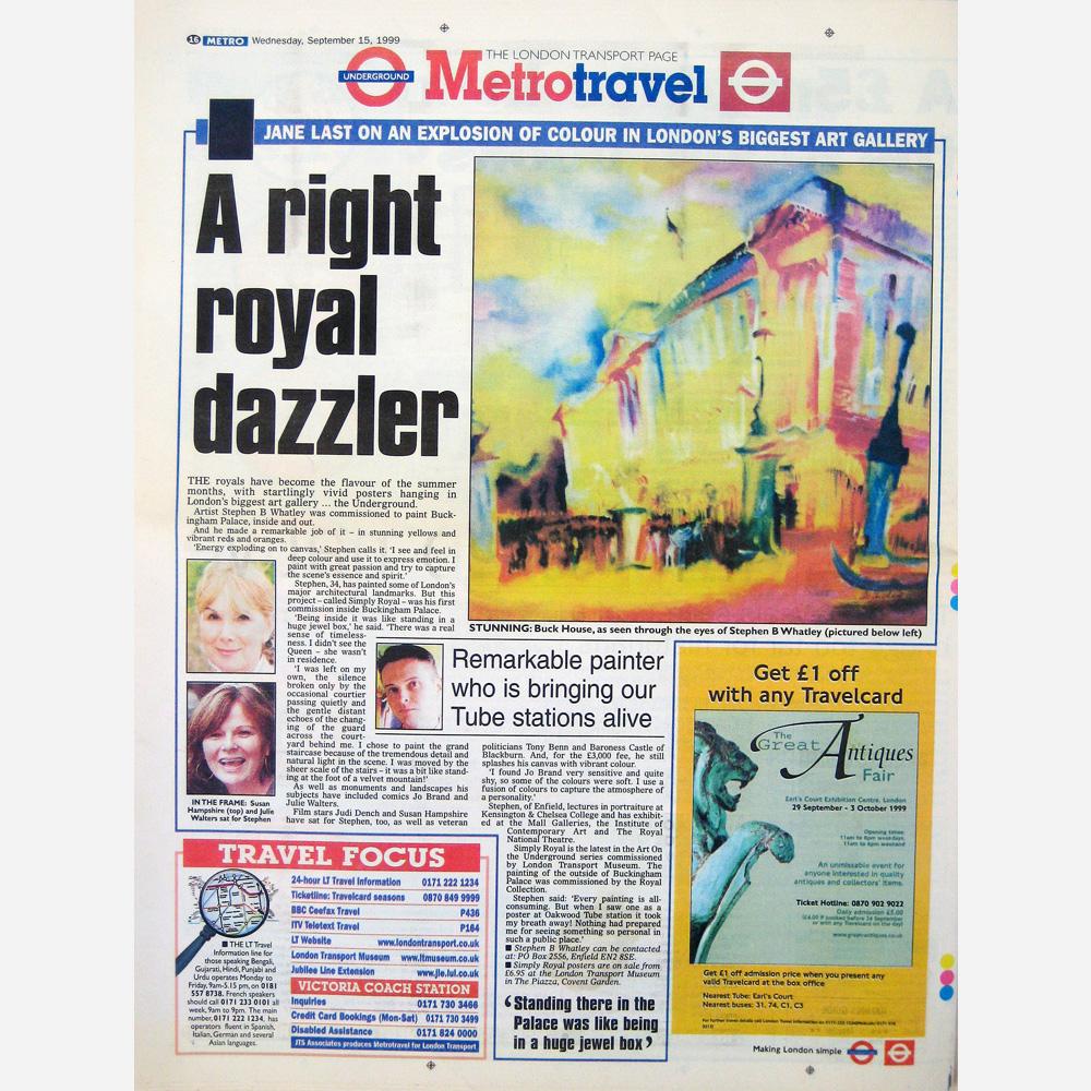 Stephen B Whatley - Press Feature, London Metro 1999