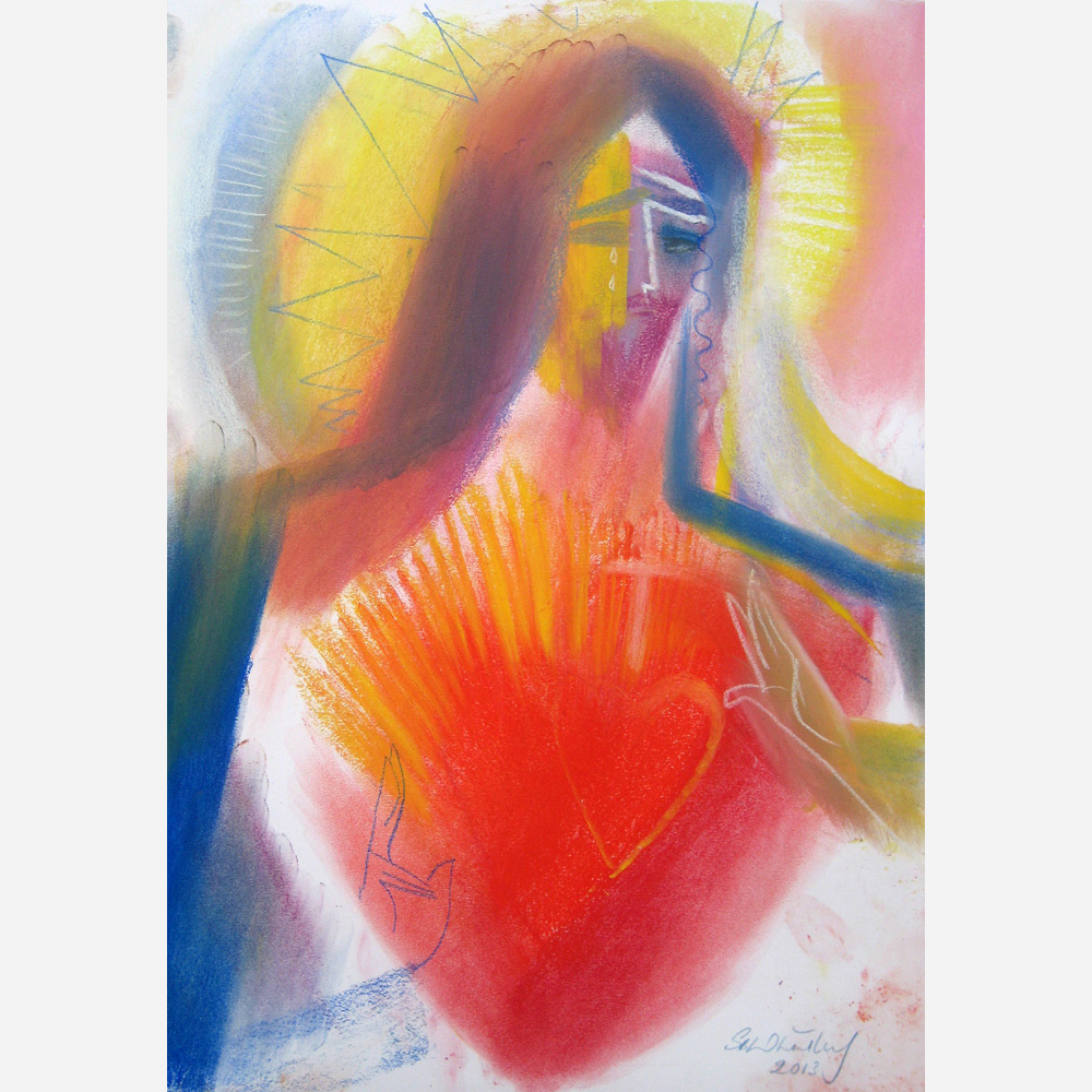Jesus - Sacred Heart of Love 2013 ( pastel on paper) by Stephen B Whatley