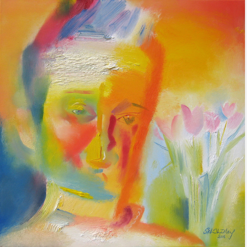 Self Portrait with Easter Tulips. March 2016 by Stephen B. Whatley