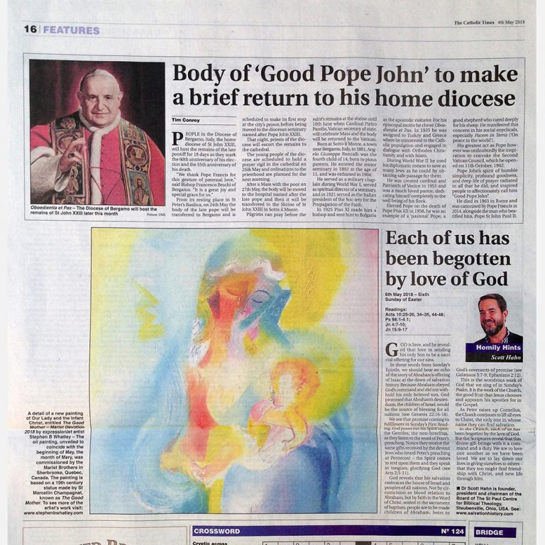 Stephen B. Whatley feature – Catholic Times – 4 May 2018